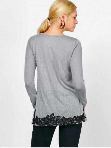 Best Long Sleeve Lace Trim T-Shirt - S GRAY Mobile