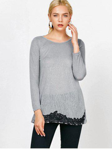 Latest Long Sleeve Lace Trim T-Shirt - S GRAY Mobile