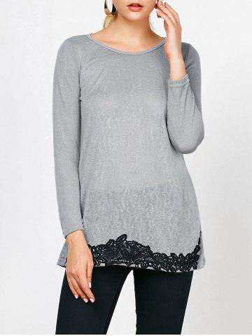 Outfits Long Sleeve Lace Trim T-Shirt