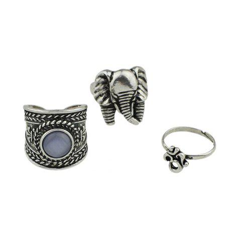 Latest Engraved Elephant Alloy Gypsy Ring Set - SILVER  Mobile