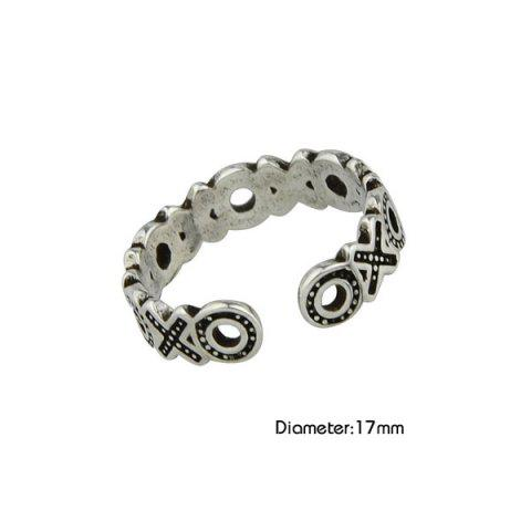 Outfit Engraved Circle Cuff Ring - SILVER  Mobile