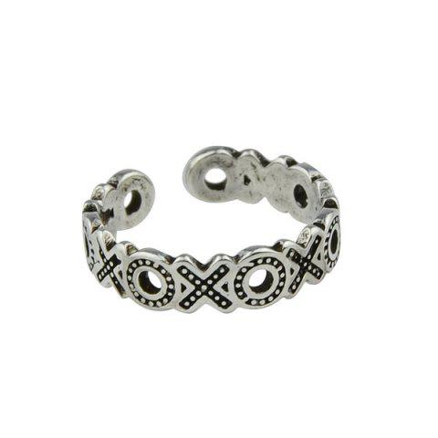 Hot Engraved Circle Cuff Ring - SILVER  Mobile