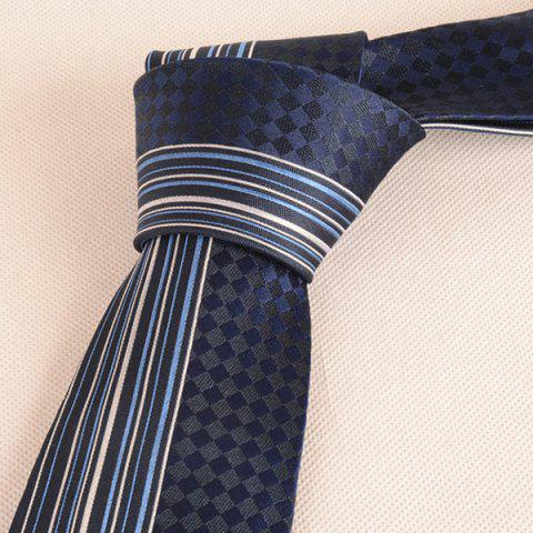 Affordable Straight Stripe Tiny Plaid Mulberry Silk Tie - CADETBLUE  Mobile