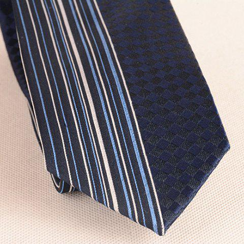 New Straight Stripe Tiny Plaid Mulberry Silk Tie - CADETBLUE  Mobile