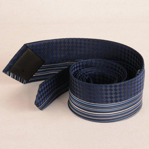 Best Straight Stripe Tiny Plaid Mulberry Silk Tie - CADETBLUE  Mobile