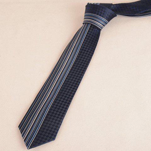 Hot Straight Stripe Tiny Plaid Mulberry Silk Tie - CADETBLUE  Mobile