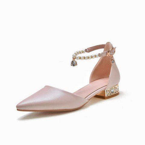Sale Beading Ankle Strap Flat Shoes - 39 PINK Mobile