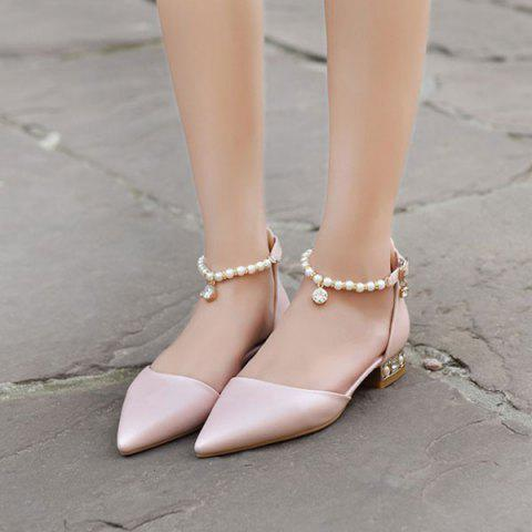 New Beading Ankle Strap Flat Shoes - 39 PINK Mobile