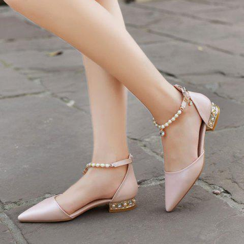 Store Beading Ankle Strap Flat Shoes - 39 PINK Mobile