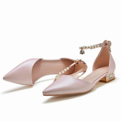 Cheap Beading Ankle Strap Flat Shoes - 39 PINK Mobile