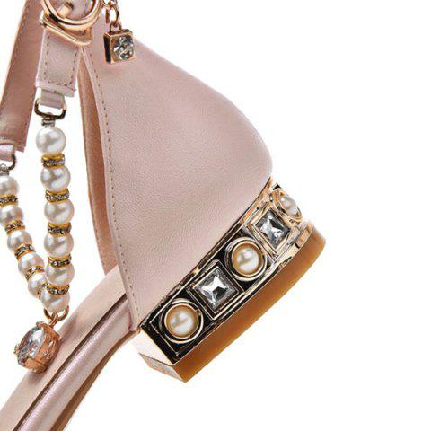 Affordable Beading Ankle Strap Flat Shoes - 39 PINK Mobile