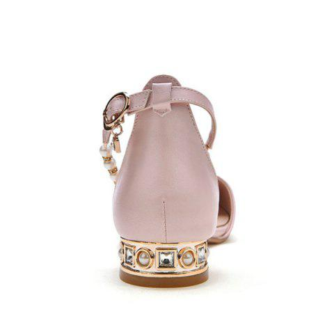 Online Beading Ankle Strap Flat Shoes - 39 PINK Mobile