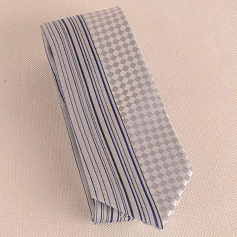 Shop Straight Stripe Tiny Plaid Mulberry Silk Tie - FROST  Mobile