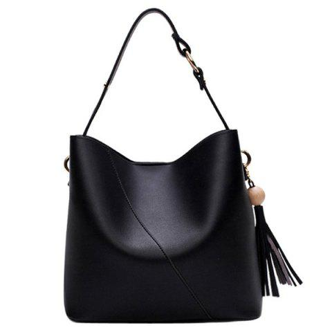 Best Tassel Wood Ball Shoulder Bag - BLACK  Mobile