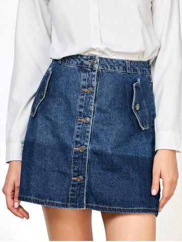 Hot Denim Buttons Mini Ombre Skirts with Pockets BLUE S