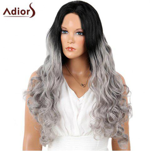 Online Adiors Perm Dyed Long Center Part Wavy Colormix Lace Front Synthetic Wig - 26INCH BLACK AND GREY Mobile