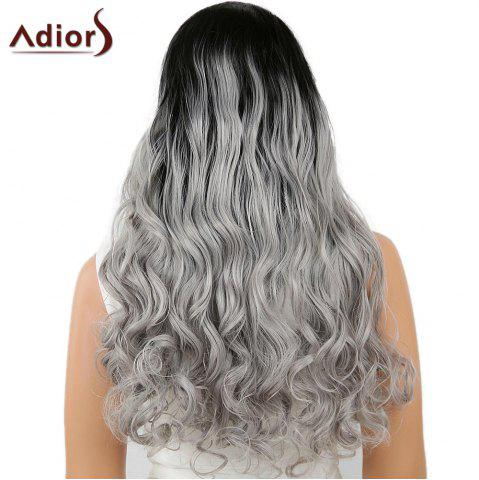 Unique Adiors Perm Dyed Long Center Part Wavy Colormix Lace Front Synthetic Wig - 26INCH BLACK AND GREY Mobile