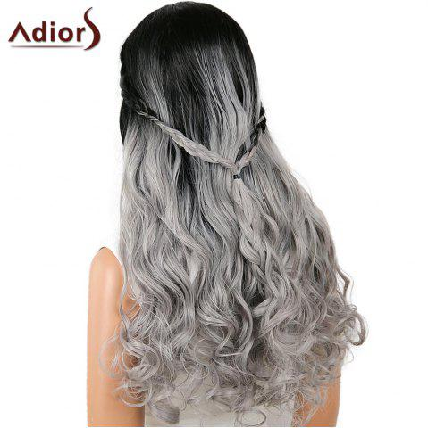 Sale Adiors Perm Dyed Long Center Part Wavy Colormix Lace Front Synthetic Wig - 26INCH BLACK AND GREY Mobile