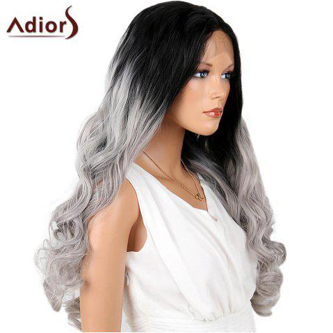 Affordable Adiors Perm Dyed Long Center Part Wavy Colormix Lace Front Synthetic Wig - 26INCH BLACK AND GREY Mobile