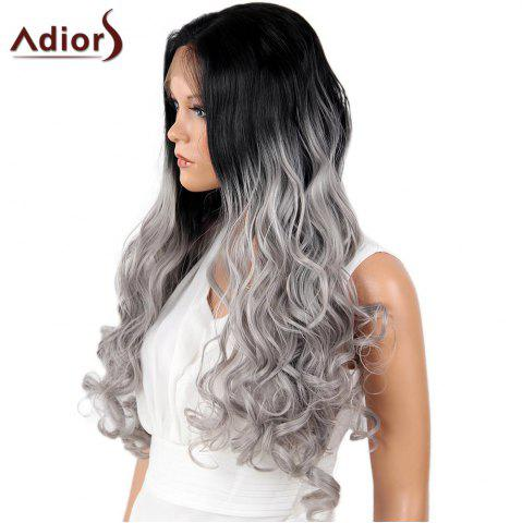 Discount Adiors Perm Dyed Long Center Part Wavy Colormix Lace Front Synthetic Wig - 26INCH BLACK AND GREY Mobile