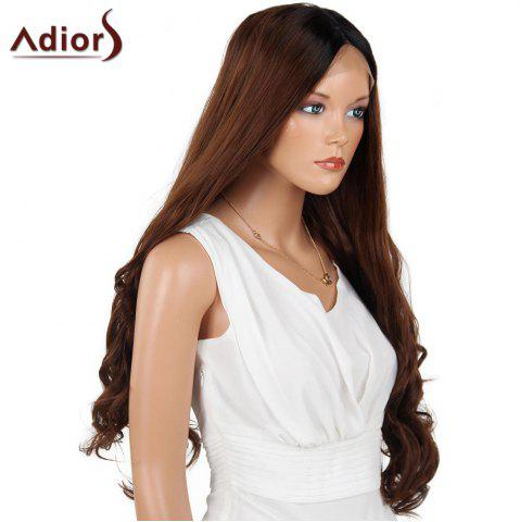 Unique Adiors Long Center Part Wavy Dyed Perm 180% Lace Front Synthetic Wig - 26INCH BLACK AND BROWN Mobile