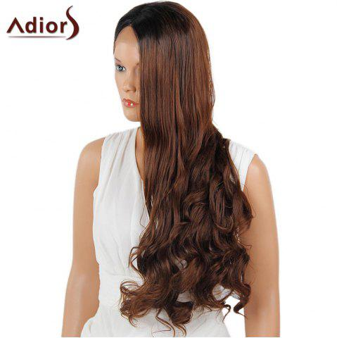 Affordable Adiors Long Center Part Wavy Dyed Perm 180% Lace Front Synthetic Wig - 26INCH BLACK AND BROWN Mobile