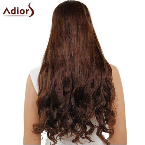 Online Adiors Long Center Part Wavy Dyed Perm 180% Lace Front Synthetic Wig - 26INCH BLACK AND BROWN Mobile
