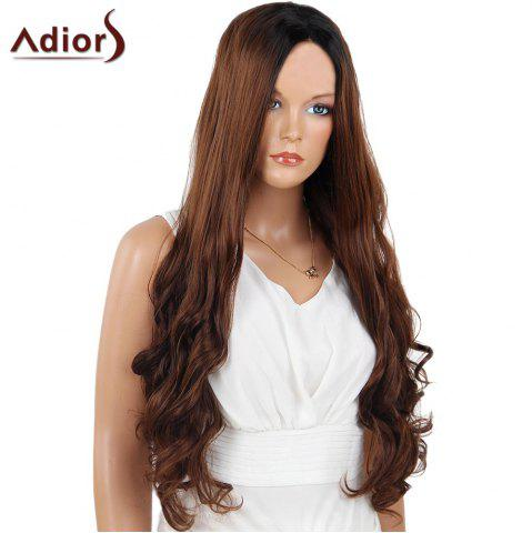 Discount Adiors Long Center Part Wavy Dyed Perm 180% Lace Front Synthetic Wig - 26INCH BLACK AND BROWN Mobile