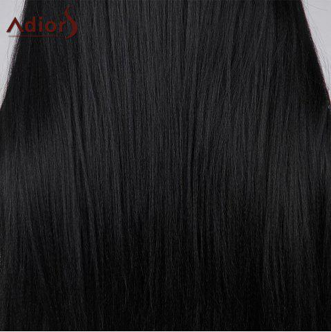 Sale Adiors Long Center Part Perm Dyeable Silky Straight Lace Front Synthetic Wig - 26INCH BLACK 02# Mobile