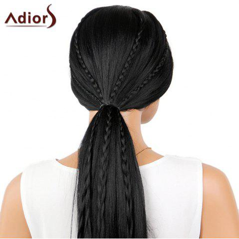 Fashion Adiors Long Center Part Perm Dyeable Silky Straight Lace Front Synthetic Wig - 26INCH BLACK 02# Mobile