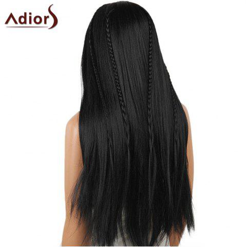 Discount Adiors Long Center Part Perm Dyeable Silky Straight Lace Front Synthetic Wig - 26INCH BLACK 02# Mobile