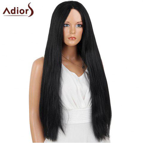 Affordable Adiors Long Center Part Perm Dyeable Silky Straight Lace Front Synthetic Wig - 26INCH BLACK 02# Mobile