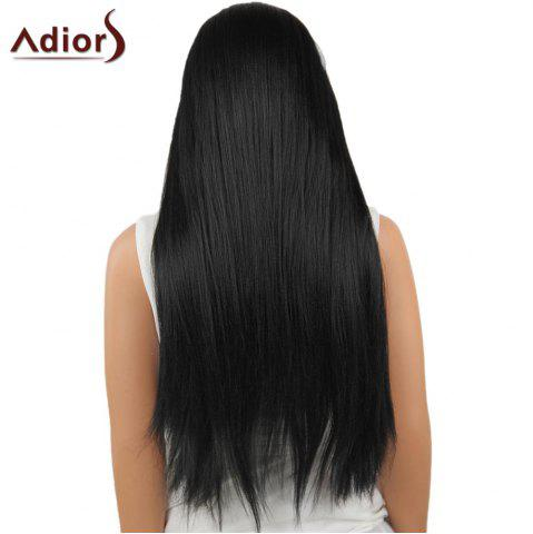 Shops Adiors Long Center Part Perm Dyeable Silky Straight Lace Front Synthetic Wig - 26INCH BLACK 02# Mobile
