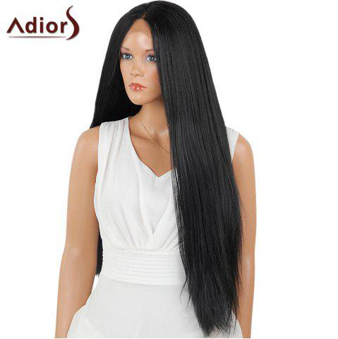 Unique Adiors Long Center Part Perm Dyeable Silky Straight Lace Front Synthetic Wig - 26INCH BLACK 02# Mobile