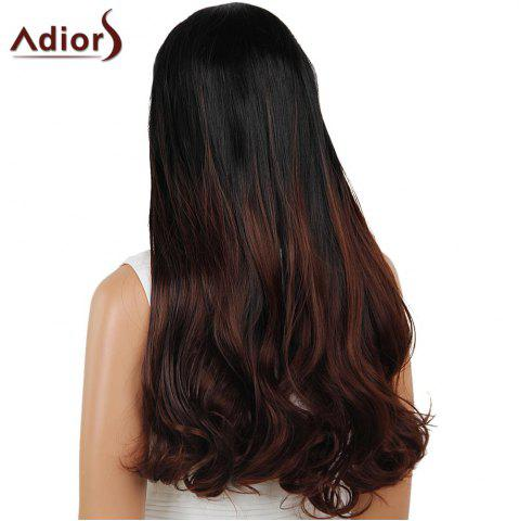 Sale Adiors Dyeable Perm Middle Part Long Straight 180% Lace Front Synthetic Wig - 26INCH BLACK AND BROWN Mobile
