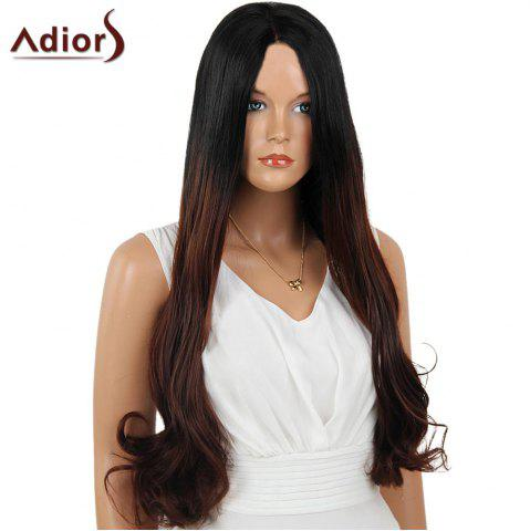 Fashion Adiors Dyeable Perm Middle Part Long Straight 180% Lace Front Synthetic Wig - 26INCH BLACK AND BROWN Mobile