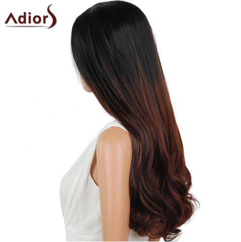 Shops Adiors Dyeable Perm Middle Part Long Straight 180% Lace Front Synthetic Wig - 26INCH BLACK AND BROWN Mobile