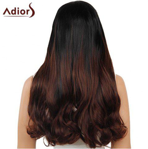 Affordable Adiors Dyeable Perm Middle Part Long Straight 180% Lace Front Synthetic Wig - 26INCH BLACK AND BROWN Mobile