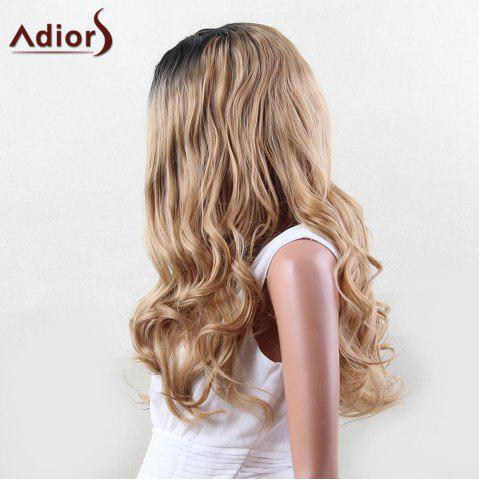 Chic Adiors Dyeable Perm Long Middle Part Wavy 180% Lace Front Synthetic Wig - 22INCH BLACK AND GOLDEN Mobile
