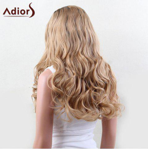 Latest Adiors Dyeable Perm Long Middle Part Wavy 180% Lace Front Synthetic Wig - 22INCH BLACK AND GOLDEN Mobile
