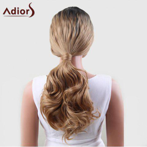 Unique Adiors Dyeable Perm Long Middle Part Wavy 180% Lace Front Synthetic Wig - 22INCH BLACK AND GOLDEN Mobile