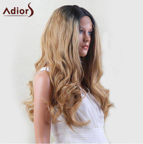 Sale Adiors Dyeable Perm Long Middle Part Wavy 180% Lace Front Synthetic Wig - 22INCH BLACK AND GOLDEN Mobile