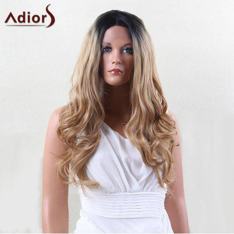 Fashion Adiors Dyeable Perm Long Middle Part Wavy 180% Lace Front Synthetic Wig - 22INCH BLACK AND GOLDEN Mobile