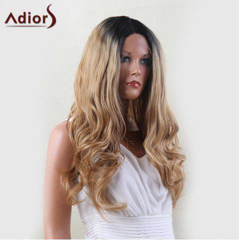 Shops Adiors Dyeable Perm Long Middle Part Wavy 180% Lace Front Synthetic Wig - 22INCH BLACK AND GOLDEN Mobile