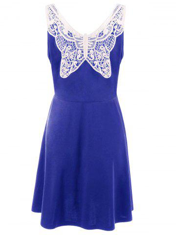 Lace Panel Plus Size A Line Skater Dress - Royal - 4xl