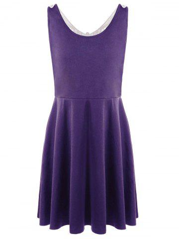 Shops Lace Panel Plus Size A Line Skater Dress - XL PURPLE Mobile