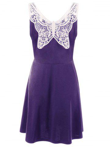 Best Lace Panel Plus Size A Line Skater Dress - XL PURPLE Mobile