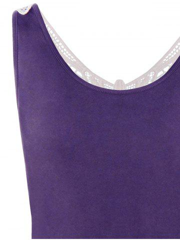 Online Lace Panel Plus Size A Line Skater Dress - XL PURPLE Mobile