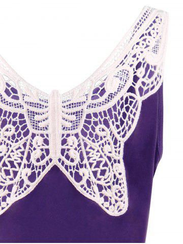 Outfit Lace Panel Plus Size A Line Skater Dress - XL PURPLE Mobile