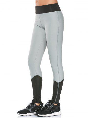 Color Block High Waisted Compression Leggings - Gray - L